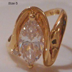 14KT Gold QVC Diamonique Marquise CZ Ring